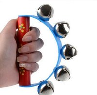 Wholesale Toy Wooden Tambourine - Wooden Shake Toy Tambourine Handbell Baby Kids Jingle Grasping Rattle Bell -Semicircle