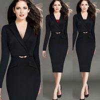 Wholesale Cheap Work Dresses Sale - New Fashion Plus Size Black Bodycon Work Dresses Long Sleeves Lapel V-neck Middle Formal Skirt Delicate Split Sash Belt Hot Sale Cheap