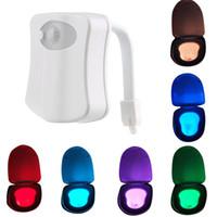 Wholesale Motion Activated Light Sensor - 2017 8 Colors Changeable LED Toilet Light Motion Sensor Activated Toilet Bowl Lights Original Factory Direct Sale