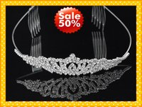 Wholesale Gold Rhinestone Wedding Bridal Tiara - Fashion Headband Hair Clips Crystala Jewelry Bridal Hair Wedding Brides Romantic Cheap Rhinestone Wear Beautiful Good Sell