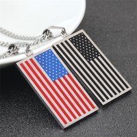 US Flag Necklaces Pendentifs Gold Color Stainless Steel USA American Chain Pour Hommes / Femmes Cadeau Hot Fashion Punk Style Jewelry 2017 Wholesale