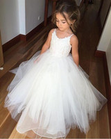 Wholesale Toddler Girl Light Purple Top - Cheap Flower Girls Dresses Tulle Lace Top Spaghetti Formal Kids Wear For Party 2017 Free Shipping Toddler Gowns