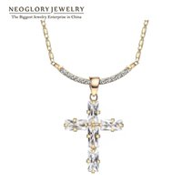 Wholesale Christian Gold Pendants - Wholesale Rhinestone Gold Plated Crosses Religious Christian Neoglory Choker Pendant Necklaces For Women Crystal Jewelry 2016 Hot Sell