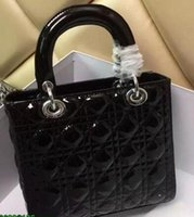 Wholesale Handbags Charms - High Quality Lady Plaid Handbag Patent Leather Rivets Tote Bag with Charms Lambskin Miss Bag