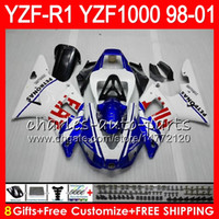 Wholesale 98 R1 - 8Gift 23Color Body For YAMAHA YZF1000 YZFR1 98 99 00 01 YZF-R1000 white blue 61HM7 YZF 1000 R 1 YZF-R1 YZF R1 1998 1999 2000 2001 Fairing