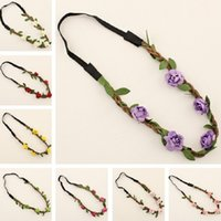 Wholesale Hair Flowers For Adults - 2017 New Fashion Women Flower Headband Flowers Hair Wear Head Bands Hair Warp Hair Accessories For Girls