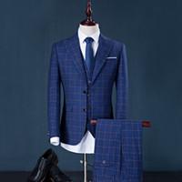 Wholesale Men S Gray Dress Vests - men suit factory brand design 3 pieces ( suit+pant+vest) stripe business suits dress wedding groom blazer slim fit best suit men blue gray