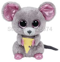 Wholesale Big Eyed Stuffed Animals - Wholesale- New Ty Beanie Boos Big Eyed Stuffed Animals Squeaker Mouse With Cheese 15CM Kids Plush Toys Children Gifts