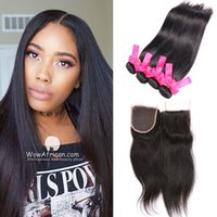 Wholesale Kinky Straight Hair For Weaving - Straight Human Hair With Closure Unprocessed Double Drawn Weaves Human Hair Bundles For Wholesale Natural Black Kinky Straight Weaving Hair