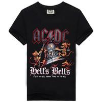 Wholesale Dc Tees - 2017 Design Rock Music AC DC Skull New Style Fashion T-shirt Men's T Shirt Cotton High Quality Screen Print Hip Hop Tees