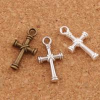 Wholesale Flag Charms - Nail Cross Charms Pendants 150pcs lot 3Colors Antique Silver Bronze Pendant Jewelry DIY L482 11.1x20.7mm