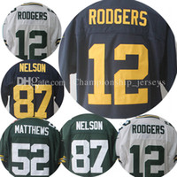 Wholesale New 52 - 2017 new men's Stitched 12 Aaron Rodgers jersey 87 Jordy Nelson 52 Clay Matthews Embroidery jerseys