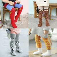 Wholesale leggings clouds - INS Kids Tights Baby Unisex Legging Triangle Fox panda Cloud Toddler Winter Stockings Socks Tights Lovely Pantyhose Pants Trousers