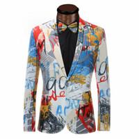 takım elbiseleri toptan satış-Lüks Renk Boyama Erkek Blazer Moda Erkekler Üst Kalite Blazer Slim Fit Ceket Dış Giyim Coat Kostüm Homme Blazer Erkekler için Suits