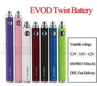 evod kit baterías variables al por mayor-EVOD Twist Battery Cigarrillo Electrónico Ego C Voltaje Variable 650 900 1100 mah Para EVOD MT3 CE4 Atomizador 510 Thread Atomizer Kit E cigarette