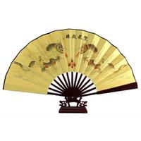 ingrosso costole di bambù-All'ingrosso- GSFY-Dragon Poem Oriental Painting in palissandro Bamboo Ribs Ventaglio pieghevole a mano