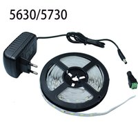Grossiste-5M 5630/5730 60Leds / M Non-étanche LED Strip Light + DC12V 2A Adaptateur secteur + DC Connecteur Flexible 5730 Ruban à ruban LED