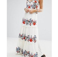 Wholesale women s cotton slips - US UK New 2018 Summer Ladies Embroidery Hippie Boho People Maxi Long dress Women Slip Sundress Female Vestido
