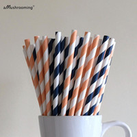 (25 pièces / lot) Peach et bleu marine Bandes de papier rayé Coral et Navy Party Supplies Bar Accessoires Cake Pop Sticks