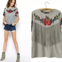 Wholesale Drop Ship Women Clothing - Women Flower printed tee tassels Ladies Short sleeve tops New fashion 2015 Female Summer clothing drop shipping grey