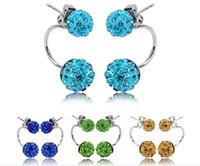 Wholesale Cheap Crystal Earings - 8mm&10mm Disco ball Double Side Earring Shamballa Crystal Ball Double Stud Earing Jewelry Cheap Jewelry Women   girls Earings