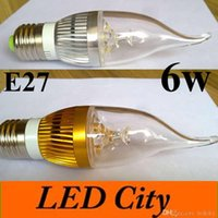 Wholesale E14 Led Candel Bulb - 10X Dimmable Led Candel Light E12 E14 E27 Led Lamp Bulb 6w 600lm CRI85 AC85-265v Warm Cold White UL CE cUL