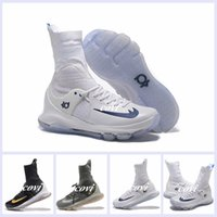 Wholesale Kd High Top Shoes - Kevin Durant KD 8 Elite Home White On Court Black Gold Wolf Grey Men Basketball Shoes Sneakers High Top KD8 Sports Shoes 7-12