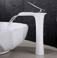 Wholesale White Bathroom Taps - Wholesale- New Arrivals Chrome and white color Waterfall Faucet Tall Bathroom Faucet Bathroom Basin Mixer Tap with Hot and Cold Sink faucet
