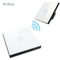 Wholesale Touch Wall Light Switches - Wholesale- VHOME Smart Home 433MHZ RF Smart Remote Control transmitter+220V Crystal Panel Touch Wall Light Switch wi-fi By Broadlink