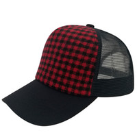 Wholesale trucker hat style men - Classic Style 100% Cotton Trucker Mesh Hat Cheap Baseball Plain Caps Plaid Snapbacks Men Women Adult For Unisex