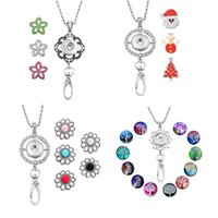 Wholesale lanyard necklace jewelry - Newest Trendy Office Lanyard ID Snap Necklace Set With Christmas Life Tree Flower Noosa Charms Button Jewelry Pendant Gift N6L