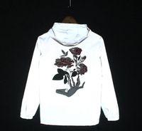 chaqueta de fantasmas al por mayor-2017 NUEVA mano Fantasma Rosa Flor Hombres Chaqueta Otoño Reflectante 3 m Chaqueta Hip Hop Impermeable Cazadora Hombres Capa