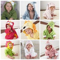 Wholesale Child Bath Robe Terry Wholesale - Baby Animal Bathrobe Hooded Bath Towels Kids Shark Fox Mouse Owl Monster Robes Cartoon Nightgown Children Soft Terry Wrap Shower Towels H26