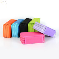 Wholesale Layer School Bags - Wholesale- 3 zippers multi Layer function Oxford School coourPencils Case Pouch Pen Holder Stationery Case School Supplies Color Pencil Bag