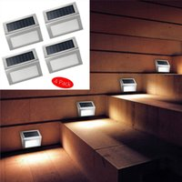 Wholesale Wall Mounting Solar Led Light - 3LED Solar Powered Wall Light 3 LED Light Wall Mount Garden Path Lamp Step Lights Outdoor Patio Gutter Fence Lighting