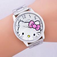 Wholesale Cartoon Watches For Women - 2017 hot sales Fashion Women stainless steel Watch Girls Hello Kitty quartz Watch for Cartoon Watches 1pcs
