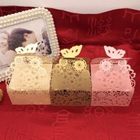 Wholesale Bonbon Boxes - FCB012 Factory direct European wedding lacer cut candy boxes creative packaging of chocolate or bonbon hollow post 100 pieces per lot