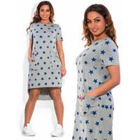 Wholesale Casual Dress For Large Women - Blue 5 Stars Plus Size Dresses For Women Fashion Hi Lo Short Sleeve Female Mid Dresses Summer Large Size Women Dresses Free Shipping