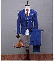 Wholesale Wool Dress Blazer - Groom Tuxedos Tailcoat Groomsman Blazer Men's Wedding Dress Prom Clothing Tuxedos (Jacket+pants+Vest) Black Long Style Male SuitFormal Occas