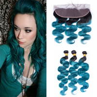 Wholesale Hiar Wave - Free Part Lace Frontal Closure With Hair Bundles 1B Green Ombre Body Wave Hiar Weaves With Lace Frontal 1B Teal Ombre Hair