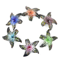 Wholesale Glass Starfish Necklace - Lampwork Glass starfish Pendants glaze handmade starfish beads for necklace with mix colors 12pcs pack MC0057