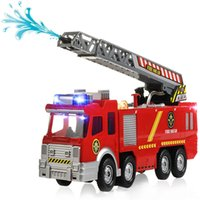 Wholesale Hose Models - Electric Fire Truck Extending Ladder Flashing Lights & Sirens with Water Pump Hose to Shoot Water Bump