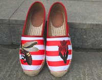 Wholesale Stripe Loafers - Top quality classic luxury brand Thick bottom Sexy Embroidered stripes canvas flowers loafers Lazy Espadrilles Flats shoes plus size