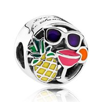 Wholesale Enamel Crystal Bracelet - New 925 Sterling Silver Bead Charm multicolour Enamel Summer Fun With Crystal Beads Fit Pandora Bracelet Bangle DIY Jewelry