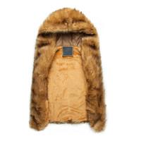 rakun kürk yelek toptan satış-Toptan-Faux Kürk Yelek Rakun Kürk Kapşonlu Kolsuz Ceketler Mens Sıcak Kış Yelek Casual Kahverengi Vizon Jile Kaya Şarkıcı Giyim