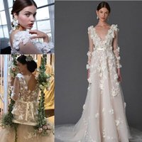 Wholesale Flower Printed Bohemian Dresses - Marchesa 3D Foral Lace Bohemian Beach Wedding Dresses 2017 Modest Dubai Arabic Handmade Flower Country Long Sleeve Bridal Dress