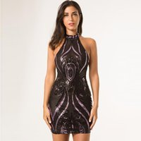 aaa2362f93e Горячая мода блестками платье черный прозрачный сетка Холтер Nigth Out  клубное платье дамы спинки Холтер Маленькое черное платье выпускного вечера  платья