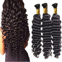 Wholesale European Wave Bulk Human Hair - Loose Deep Wave Human Braiding Hair Bulk No Weft Crochet Braids with Curly Human Hair for Micro Braids Deep Curly Bulk Braiding Hair