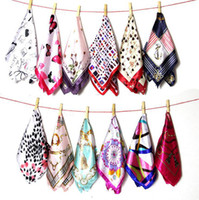 Wholesale plaid silk neck scarf - Women Silk Neckerchief Head Neck 16 Colors Sping And Autumn Female Satin Scarf Square Scarves Printed Silk Scarf 50*50cm