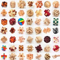 Wholesale wood brain teaser puzzles - Bamboo Puzzle Toys Kong Ming Luban Ball Lock Square Locks Fourteen Faces Eco Friendly Jigsaw Brain Teaser 5 8zt G1